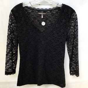 Victoria Secrets Black Lace 3/4 Sleeve Length Top